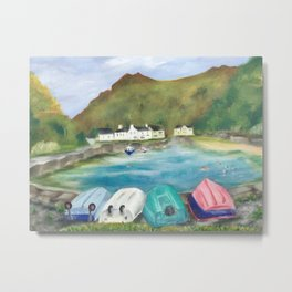 On the welsh harbour with boats  Metal Print
