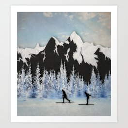 Cross Country Skiing Art Print