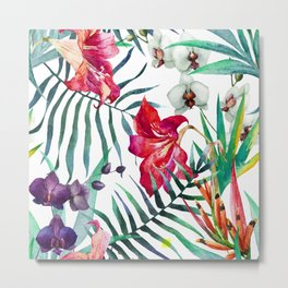 Tropical Watercolor Floral Metal Print