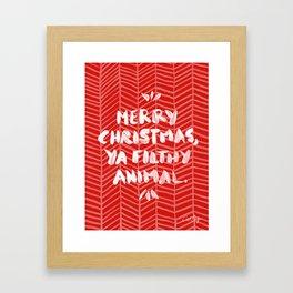 Merry Christmas, Ya Filthy Animal – Red Framed Art Print