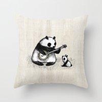 banjo Throw Pillows featuring Banjo Panda by Sophie Corrigan