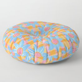 Blue Flowers on Gingham Floor Pillow
