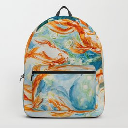 Sparkly Gold Goldfish watercolor by CheyAnne Sexton Backpack