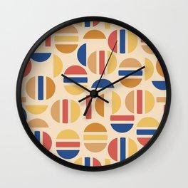 Mid Century Mod Half Circle Pattern Wall Clock