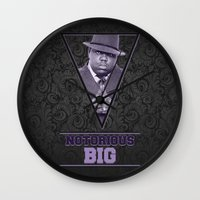 notorious big Wall Clocks featuring *Notorious BiG* by Gold Blood