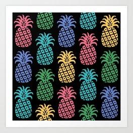 Retro Mid Century Modern Pineapple Pattern in Multi Colors 2 Art Print