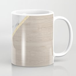 Modern white marble gold stripe wood color block Coffee Mug