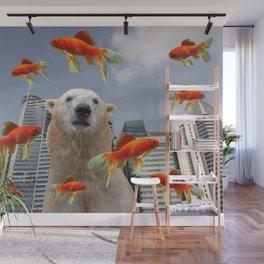 singapur Skyline with Polar Bear and Goldfish Illustration Wall Mural