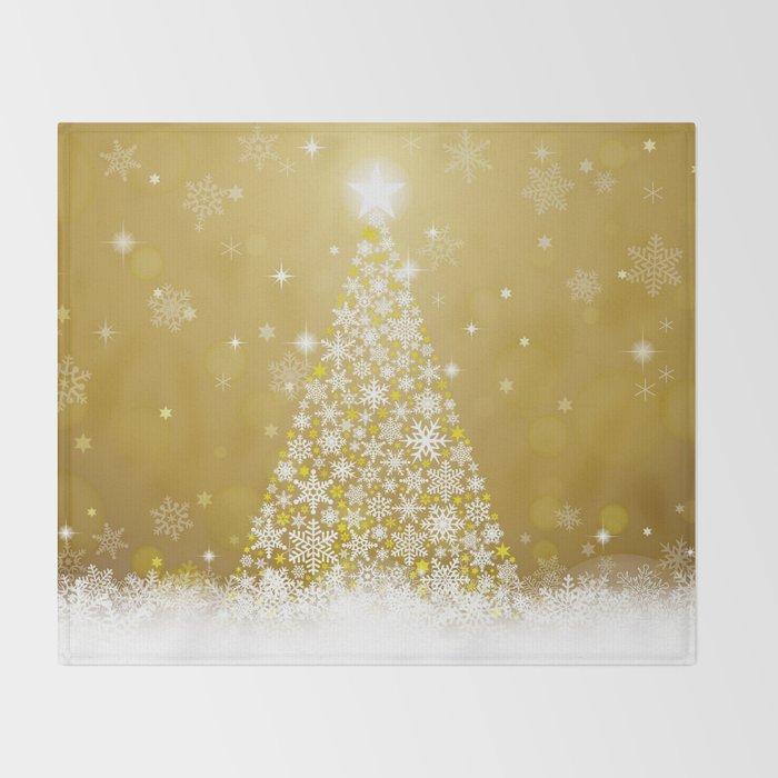 Gold Snowflakes Sparkling Christmas Tree Throw Blanket