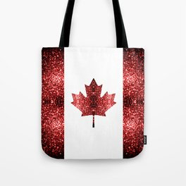 Canada flag red sparkles Tote Bag