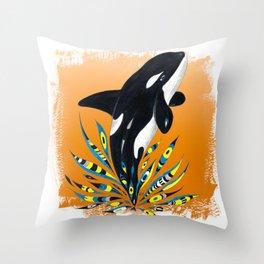 Cute Orca Whale Orange Doodle Splash Throw Pillow
