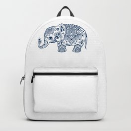 Blue Floral Paisley Cute Elephant Illustration Backpack