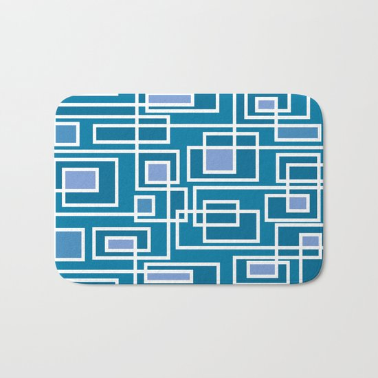 Geometric blue pattern Bath Mat