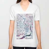 philadelphia V-neck T-shirts featuring Philadelphia map by MapMapMaps.Watercolors