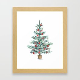 Christmas tree with red balls Framed Art Print