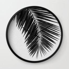 Palm Leaf Black & White I Wall Clock