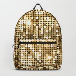Golden Metallic Glitter Sequins Backpack