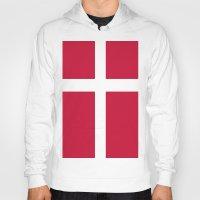 denmark Hoodies featuring Flag of Denmark by Neville Hawkins