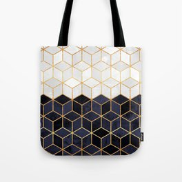 White & Navy Cubes Tote Bag