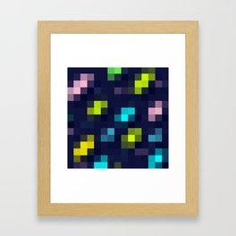 digital square / neon pixels Framed Art Print
