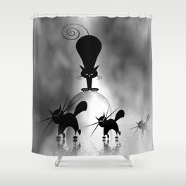 dreaming of mooncats bw -1- Shower Curtain