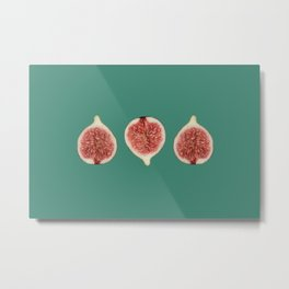 Three Figs - Turquoise Background Metal Print