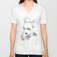 vogue V-neck T-shirts featuring Vogue by Chris Silver