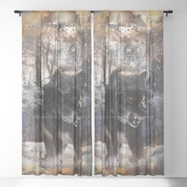 Angry Grey Wolf Sheer Curtain