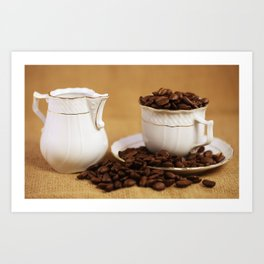 Creamer coffee cup coffee beans kitchen image Art Print
