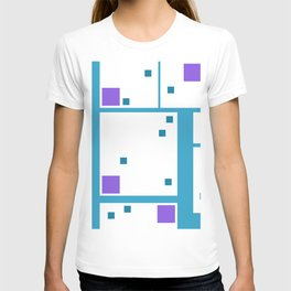 Violet Rectangle with turquoise Lines T-shirt