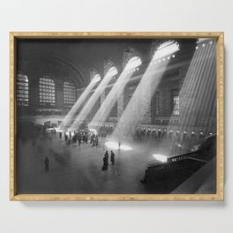 New York Grand Central Train Station Terminal Black and White Photography Print Serving Tray