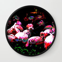Abstract Flamingos  Wall Clock