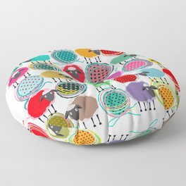 Bright Sheep and Yarn Pattern Floor Pillow