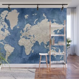 Light brown and blue watercolor detailed world map Wall Mural