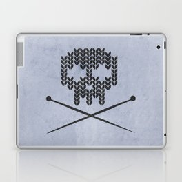 Knitted Skull (Black on Faded Periwinkle) Laptop & iPad Skin