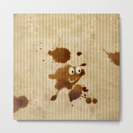 The Smile of Coffee Drop - Old Paper Style Metal Print