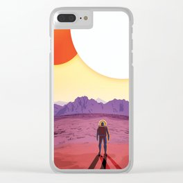 NASA Retro Space Travel Poster #8 Kepler 16b Clear iPhone Case