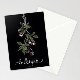 Botanical on Black Background Buckeye  Stationery Cards
