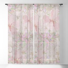 Modern Pastel Pink Watercolor Chic Floral Sheer Curtain