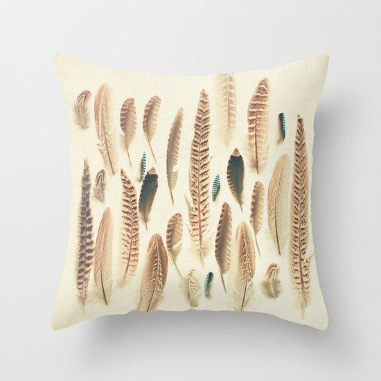 Found Feathers Throw Pillow