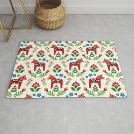 Swedish Dala Horses Red Rug