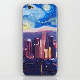 Starry Night in Los Angeles - Van Gogh Inspirations with Skyline and Mountains iPhone Skin