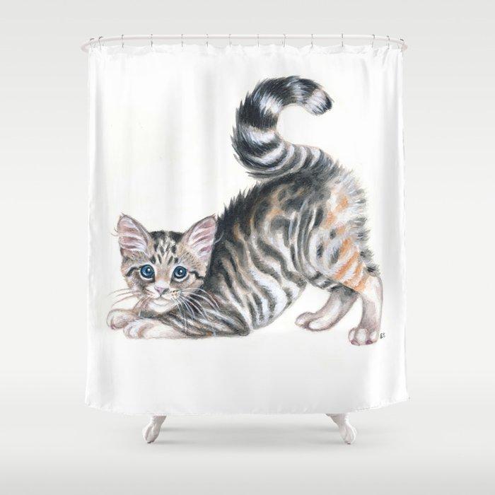 Yoga Kitten Shower Curtain By Eveystudios