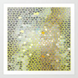 Golden grey black mosaic Art Print