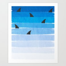 Sharks - shark week trendy black and white minimal kids pattern print ombre blue ocean surfing  Art Print