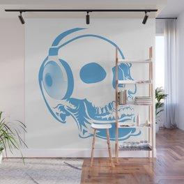 Skull with headphones Wall Mural