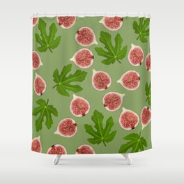 Figs and Fig Leaves green Shower Curtain