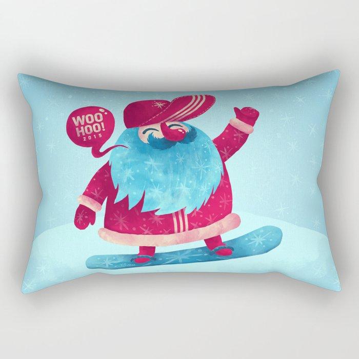 Snowboard Santa Rectangular Pillow