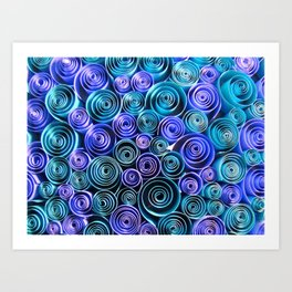 Blue Sea of Swirls Art Print