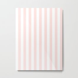 Narrow Vertical Stripes - White and Pastel Pink Metal Print